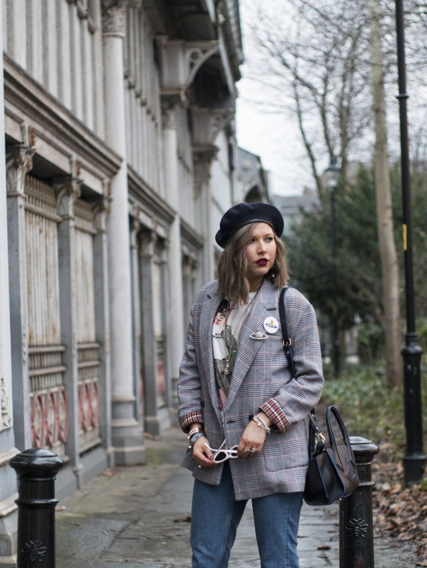 manchester fashion blogger, check blazer , tiny sunglasses, vivinne westwood bag, beret, check blazer, zara blazer