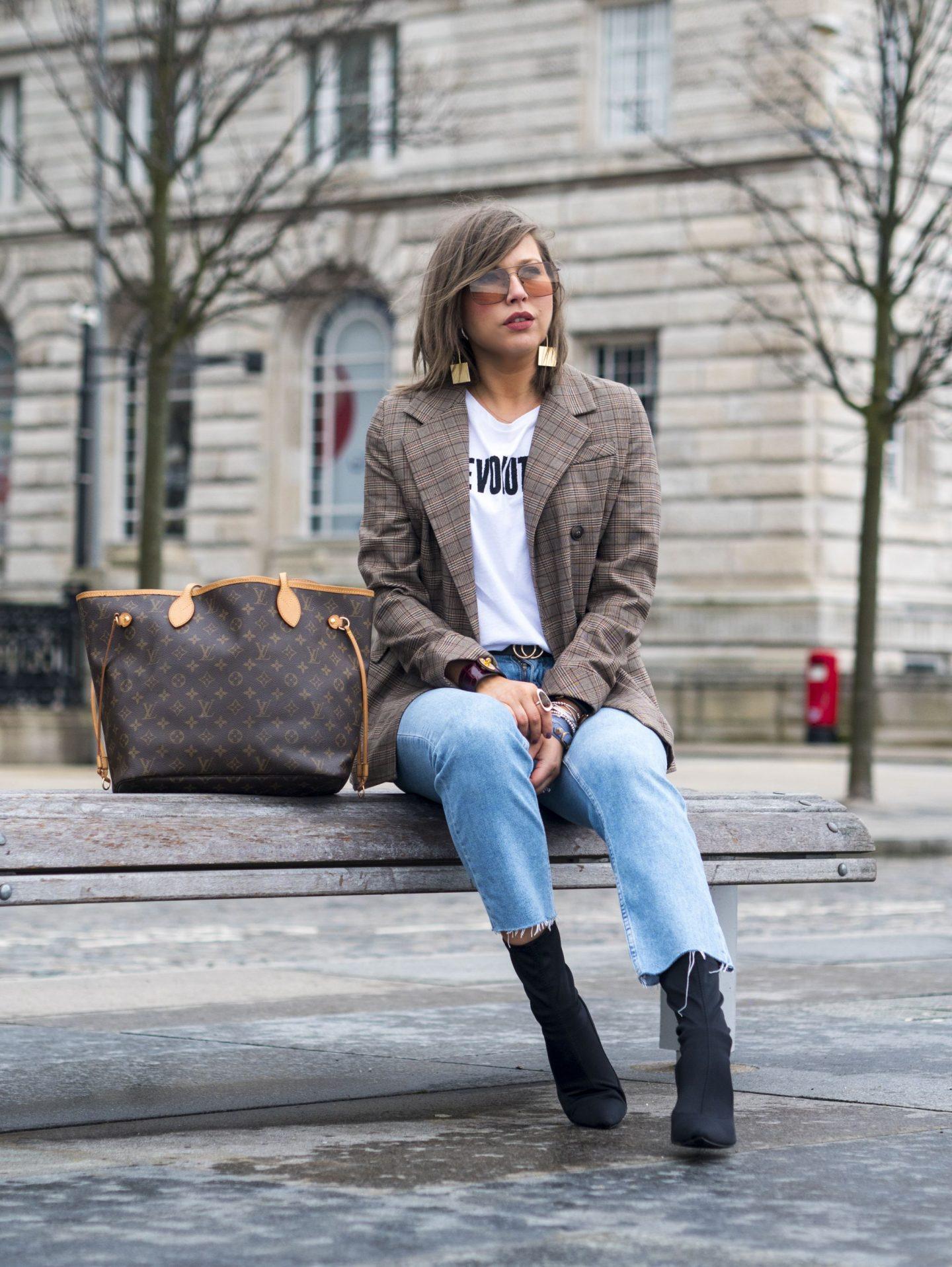 manchester fashion blogger , revolution t shirt, mango , manchester fashion revolution, check blazer, Louis Vuitton, topshop straight jeans , manchester